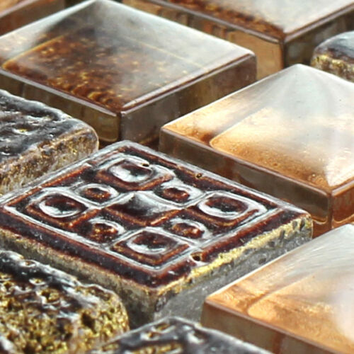 Glas Kalkstein Marmor Mosaik Fliesen Braun Gold Mix 15x15x8mm