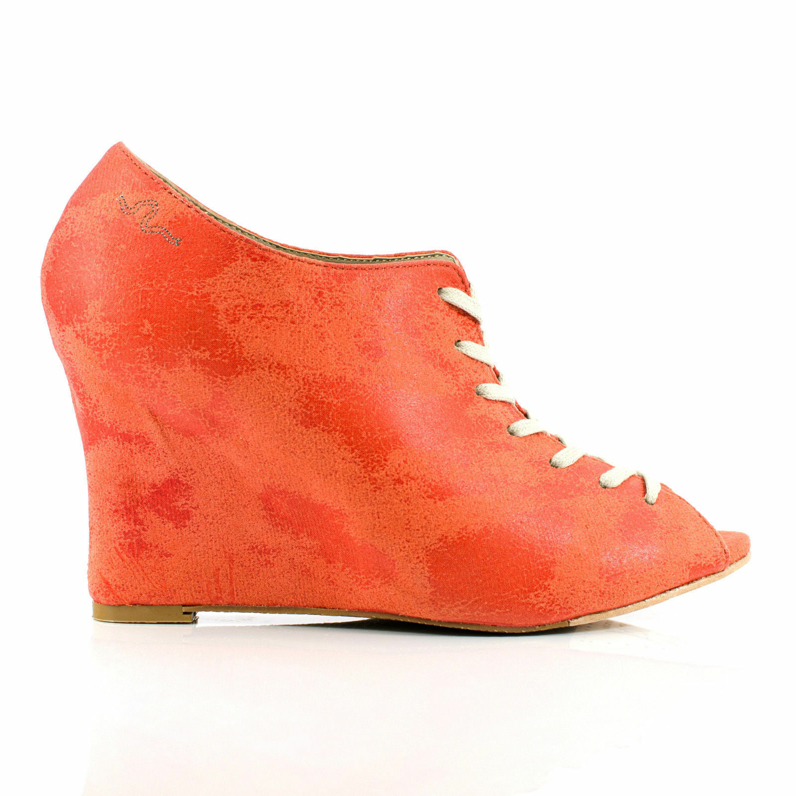 Feud Britannia London Women's Marianne Wedges Heels shoes size 7 8 orange
