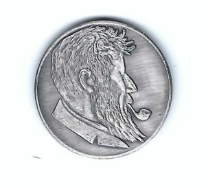 VINTAGE 1960 NUDE LADY WOMAN SMOKING PIPE OX SILVER COIN
