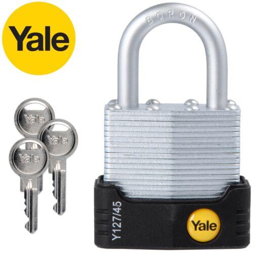 45mm LAMINATED PADLOCK Yale Boron ANTI CUT Pick Proof Lock Locker Bike Chain UK