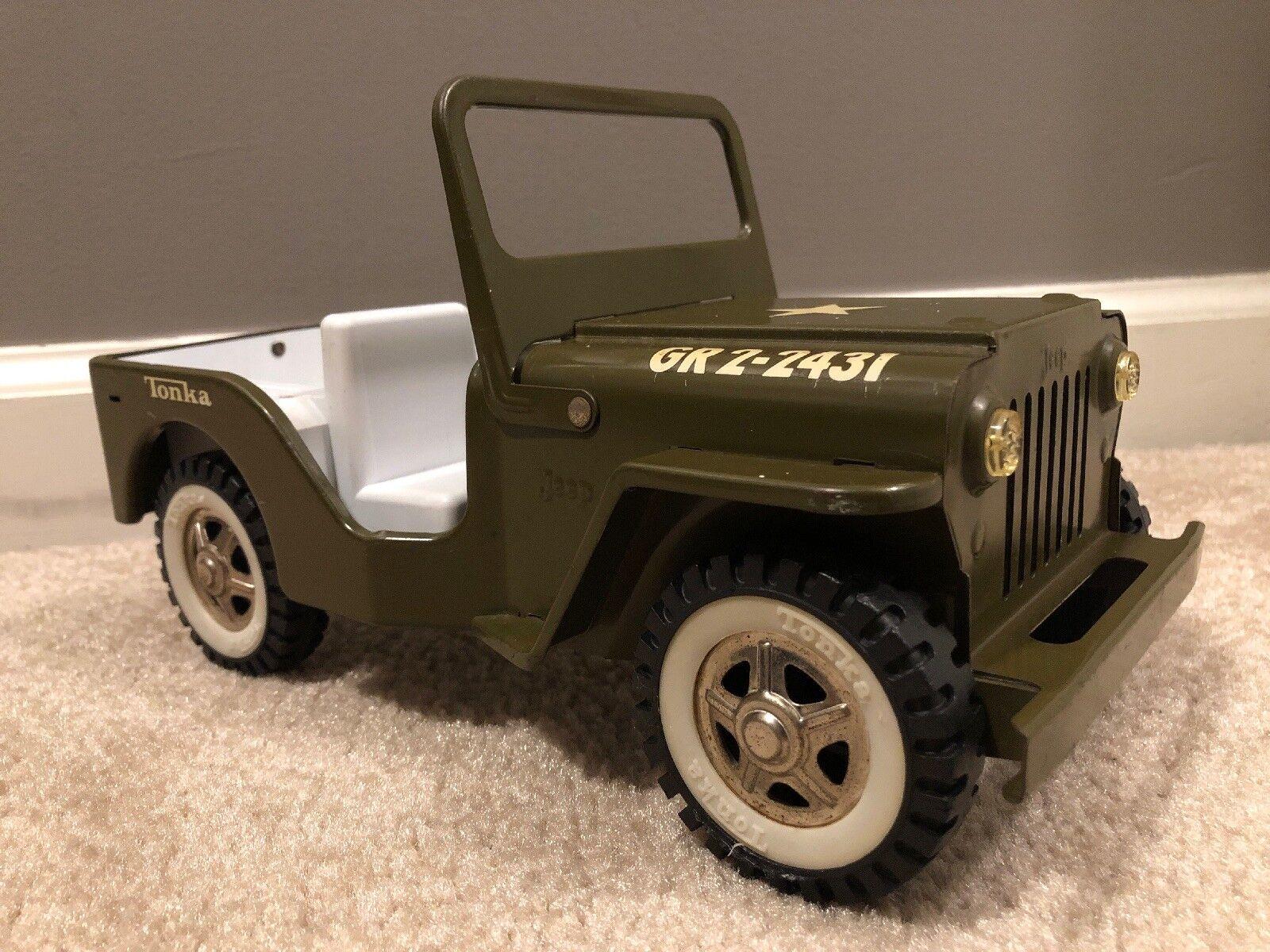 Década de 1960 Vintage Tonka Jeep del ejército no dosel 'G-2-2431' Acero Prensado