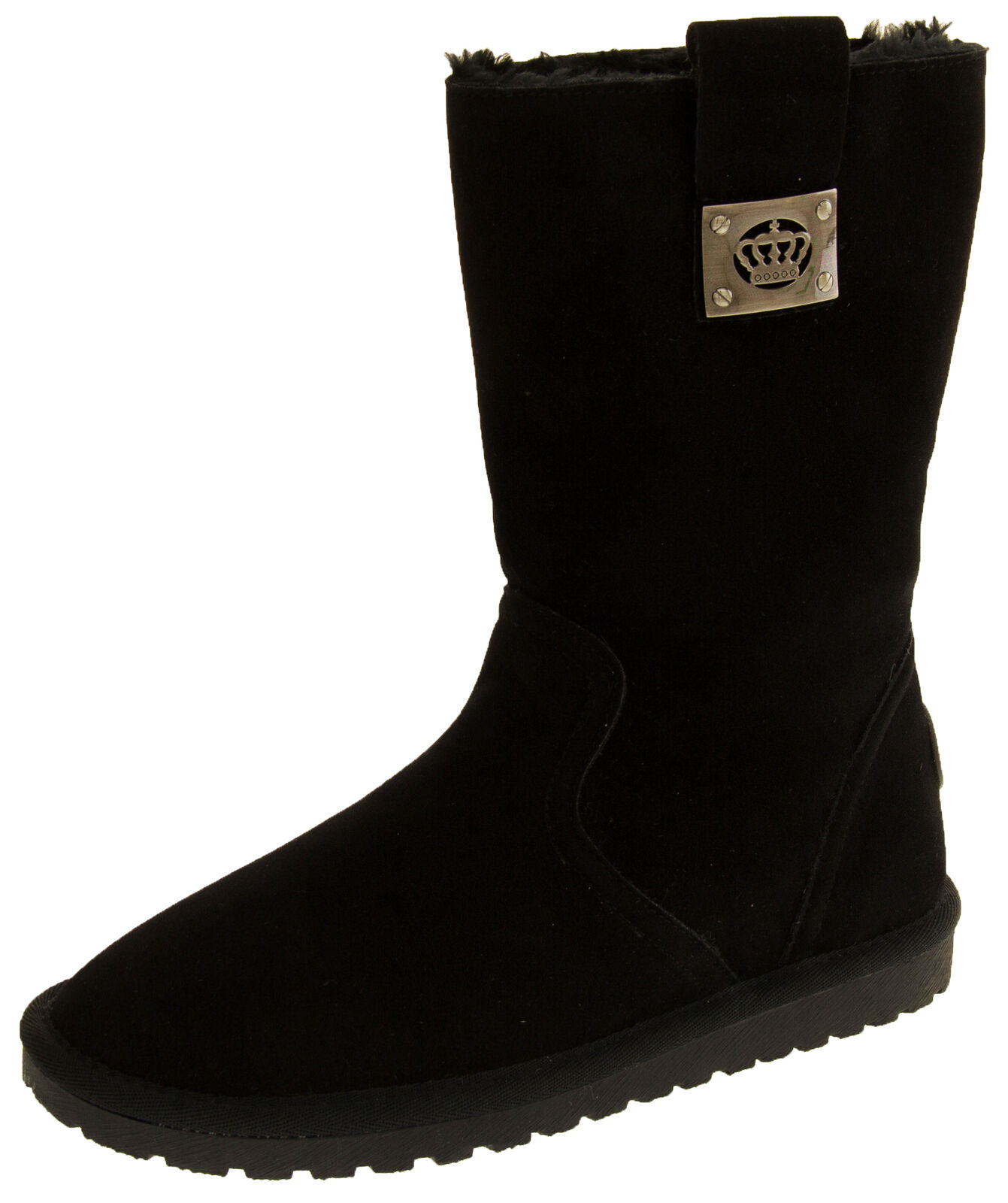 Ladies Black KEDDO Faux Suede Faux Fur Lining Warm Cosy Winter Boots Sz Size 3