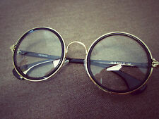 Harry Potter Black Round Oversized Metal Clear Lens Vintage Fashion Glasses 60s
