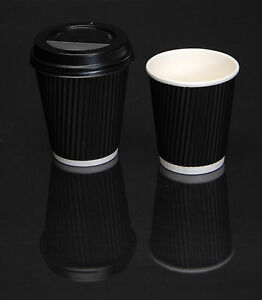 Disposable-Coffee-Cups-and-Lids-Black-Paper-Ripple-Wall-Hot-drink-cup-with-lid
