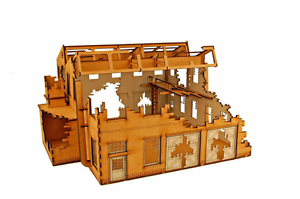 WW EUROPE FACTORY LARGE DESTROYED WORKSHOP 28mm Laser cut MDF i004