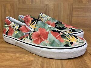 RARE-VANS-Slip-On-Floral-Hibiscus-Flowers-Sz-11-5-Men-039-s-Sneaker-Floral-Pattern