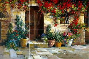 details about pienza italy tuscan home flower garden ceramic tile mural backsplash medallion