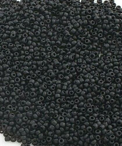 Rocailles Perlen 3mm Glasperlen Schwarz Matt Opak 450g Schmuck Seed Beads A155