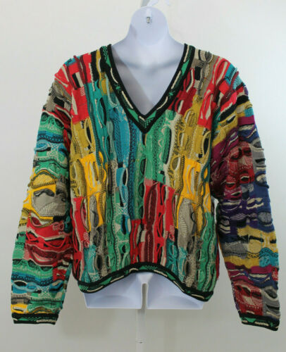 Coogi Red Blue Green Multi Sweater  XL