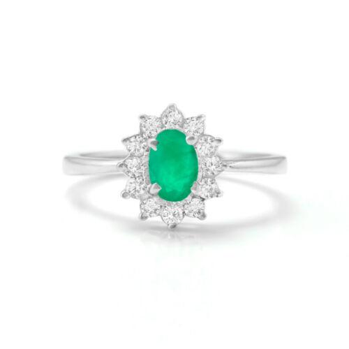 925 Sterling Silver Ring Naturel vert émeraude Halo Starburst Taille 4-11