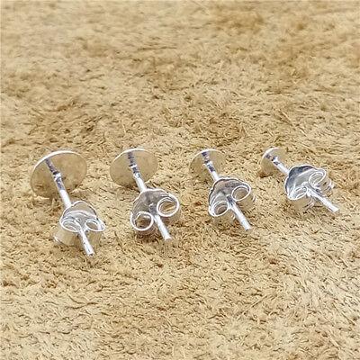Flat Head Screw Disc Earrings 925 Sterling Silver 8mm Stud Earrings