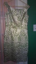 Green & Gold Brocade Dress Helen Wong size 10 NEW