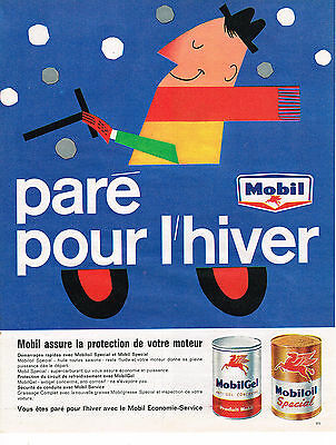 Capable Publicite Advertising 1962 Mobil Huile Moteur Paré Pour L'hiver Be Novel In Design Breweriana, Beer Other Breweriana