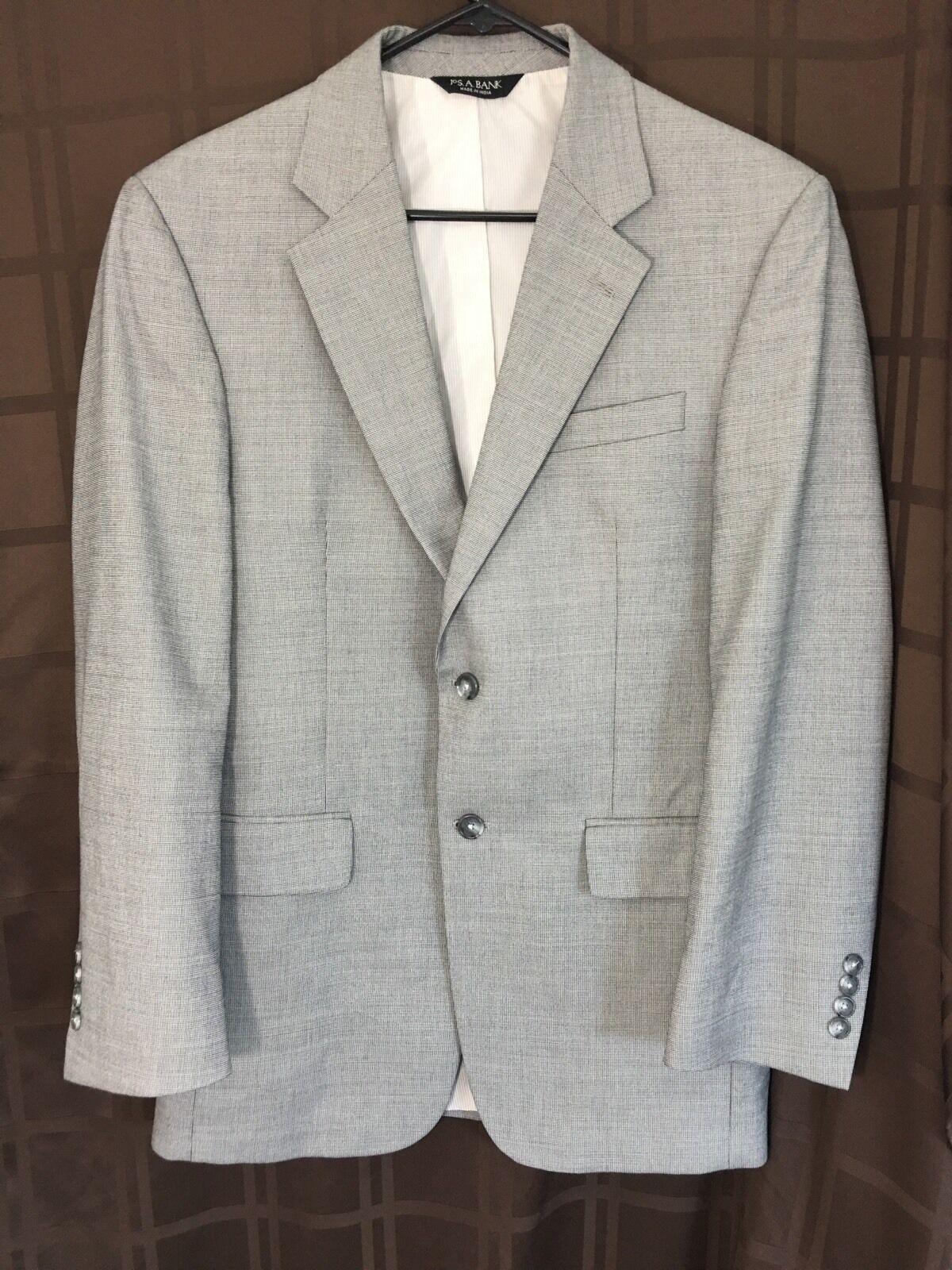 Jos A Bank grau Glen Plaid 41%Wool 59%cotton 2 Button Blazer Sport Coat 38 R EUC
