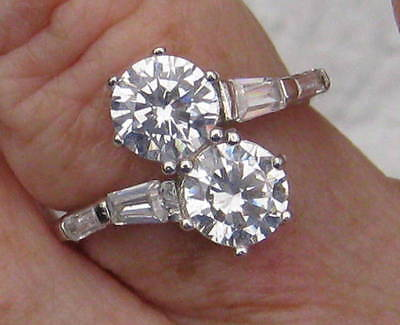 2 Carat Sterling Silver CZ Two-Stone Bypass Ring with CZ Baguettes Trending NOW