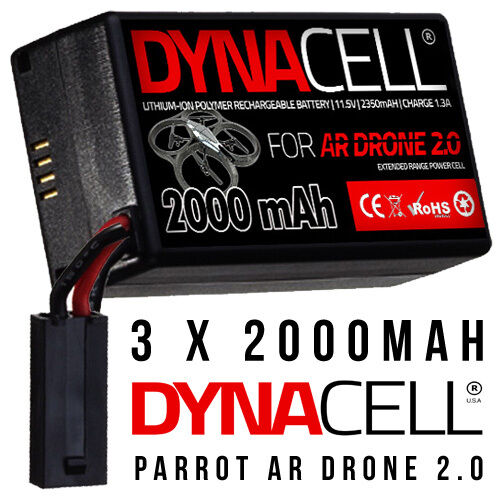 3 x DYNACELL 2000MaH Spare Upgrade Replacement Battery for Parred AR Drone 2.0
