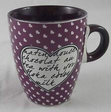Kaffeebecher 200 ml Kaffeepott Tasse Becher Pott Herz Herzen Lila / Weiß Neu