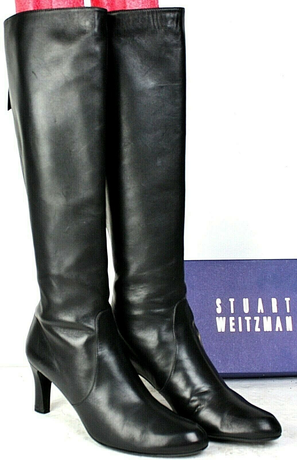 Stuart Weitzman Tall Knee High Leather Boots Black High Hees Back Zipper PB
