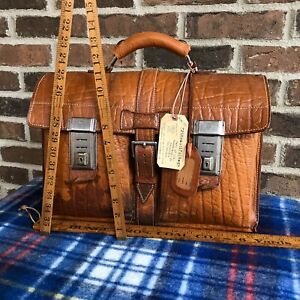 RARE-VINTAGE-1940s-GERMANY-DISTRESSED-LEATHER-MACBOOK-PRO-BRIEFCASE-BAG-998