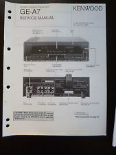 Original Service Manual Kenwood Stereo Graphic Equalizer GE-A7