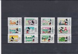 FRANCE-2018-MICKEY-SERIE-COMPLETE-DE-12-TIMBRES-OBLITERES