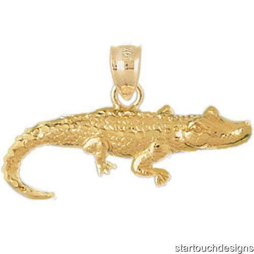 New 14k Yellow gold Alligator Pendant