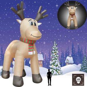 5M Aufblasbares Rentier LED Weihnachten Figur Deko Weihnachtsdeko IP44 12 V 45 W