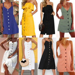 Womens-Strappy-Button-Pocket-Holiday-Dress-Summer-Beach-Midi-Swing-Sundress