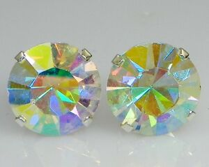 (2mm - 10mm) Crystal AB Sterling Silver Earrings Using Swarovski Elements