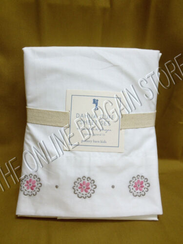 Pottery Barn Kids Dahlia Cuff Floral Bloom Bed Sheets Set Twin Pink Embroidered