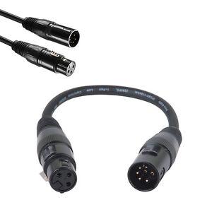 XLR-5pin-macho-a-3-pines-adaptador-hembra-audio-Giratorio-DMX-Cable-de-microfono