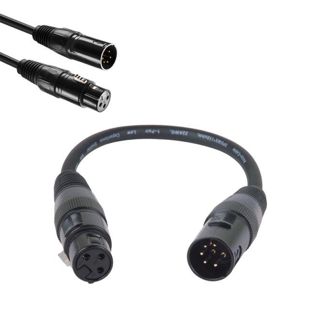 XLR 5pin macho a 3 pines adaptador hembra audio Giratorio DMX Cable de micrófono
