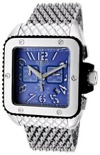 New Invicta Reserve Mens 1693 Cuadro Swiss Chrono Blue Square Dial Bracelt Watch
