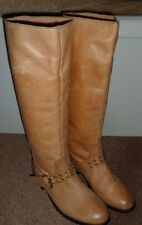 TOPSHOP BOHO TAN LEATHER GOLD STUDDED RIDING KNEE LENGTH FLAT  BOOTS UK 4 / 37