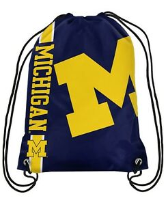 Michigan-Wolverines-Drawstring-Backpack-NCAA-Big-Logo-Side-Stripe