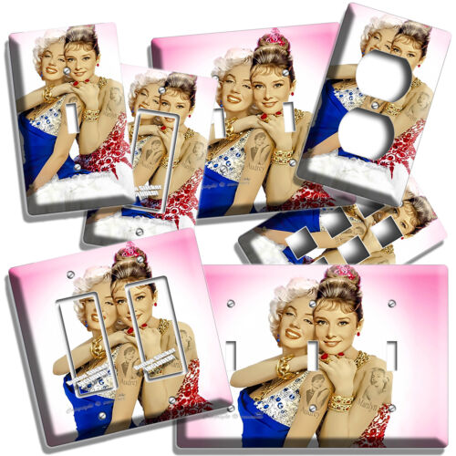 AUDREY HEPBURN AND MARILYN MONROE COLOR LIGHT SWITCH OUTLET WALL PLATE ART DECOR