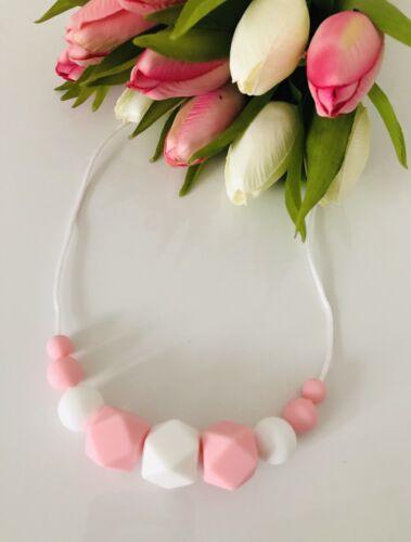 Silicone Teething necklace Nursing Breastfeeding sensory Bpa Free Pink And White