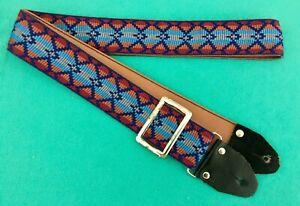 Aimable Vintage Wabash Cool Hippie Hootenanny Ace Style Tissé Sangle De Guitare-afficher Le Titre D'origine
