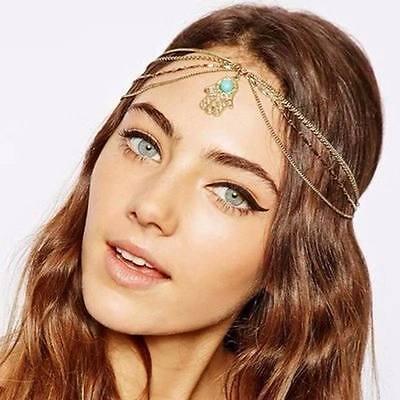 Gold Tassel Chain Evil Hand Pendant Crown Head Hair Cuff Headband Punk Headpiece