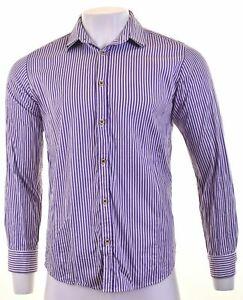 TED-BAKER-Mens-Shirt-Medium-Purple-Striped-Cotton-FH13