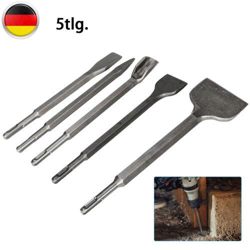 Meißel Satz 5-tlg Mit SDS-Plus Meissel Fliesen Breit Flach Spitz Kanal 250mm DE