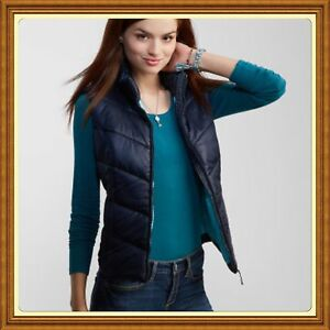 New-with-tags-Aeropostale-Women-039-s-Vest-Classic-Navy-Solid-Puffy-Large