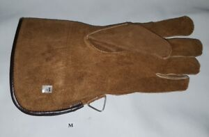 Falconry-Glove-Single-Layer-Medium-Size-Suede-Leather-12-Inches-Long-Tan-Brown