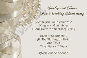 Image Is Loading Personalised Pearl Wedding Anniversary Invitations 30th