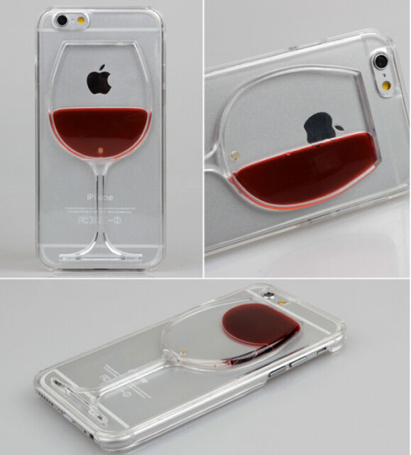 Liquid 3D Wine Glass Cocktail Bottle Pattern Case Cover For iPhone 5S 6 6S Plus