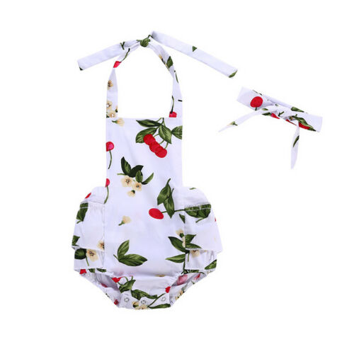 Headwear Clothes Outfits Infant Baby Girls Cherry Romper Bodysuit Jumpsuit