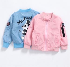 Kids Baby Boys Girls Cartoon Mickey Coat Casual Zipper Jacket Stand Collar Coat