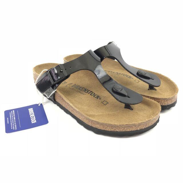 Birkenstock Gizeh Black Patent Sandals Size 5 36