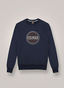 Felpa-Uomo-Colmar-8268R-9RR-Sounds-Maglia-Cotone-Nera-Blu-Olio-Gommata-Nuova