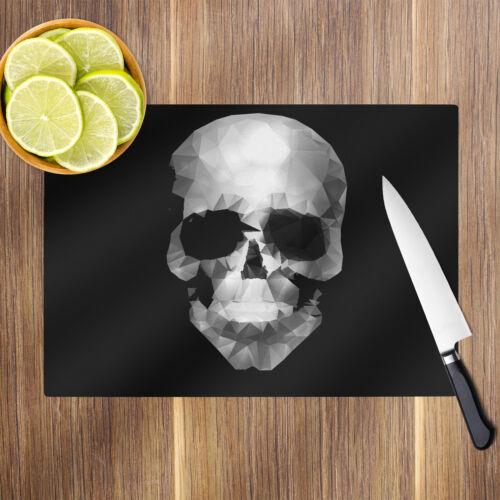 Black White Skull Glass Chopping Board Kitchen Worktop Saver Protector